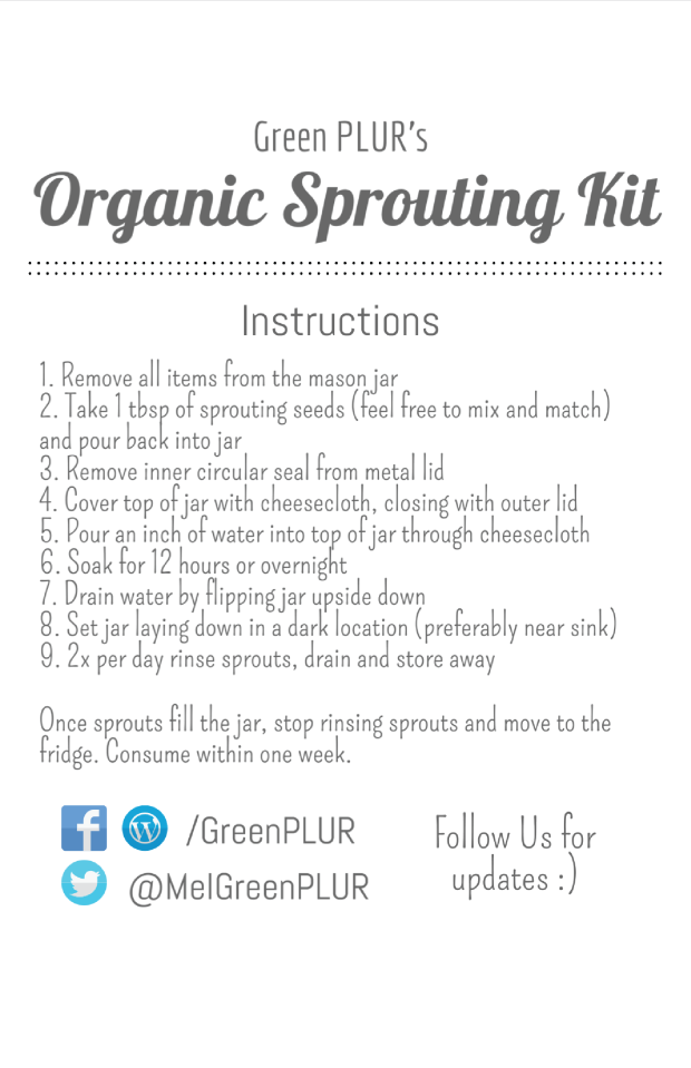 Organic Sprouting Kit Instructions